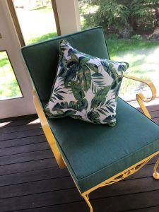 Painted Wrought Iron Chair   Sunbrella Cushion Covers   Upholstered by Cape Cod Upholstery Shop   Located in South Dennis, MA