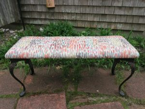 Bench with Wrought Iron legs | Upholstered in an Abstract Print | Upholstered by Cape Cod Upholstery Shop | Located in South Dennis, MA