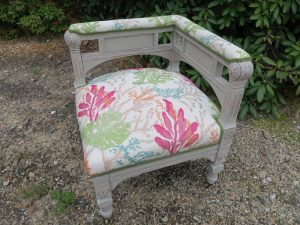 Antique Corner Chair   Upholstered by Cape Cod Upholstery Shop   Located in South Dennis, MA