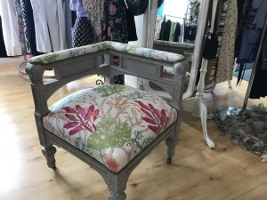 Upholstered Corner Chair for Whimsy's Consignment Boutique in West Harwich, MA | Upholstered by Cape Cod Upholstery Shop | Located in South Dennis, MA