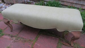 """55"""" Bench with Queen Anne Legs and Sueded Fabric   Upholstered by Cape Cod Upholstery Shop   Located in South Dennis, MA"""