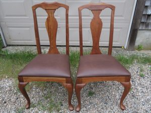 Queen Anne Dining Chairs   2 out of a Set of 6   Upholstered in a Greenhouse Fabrics Faux Leather   Upholstered by Cape Cod Upholstery Shop   Located in South Dennis, MA