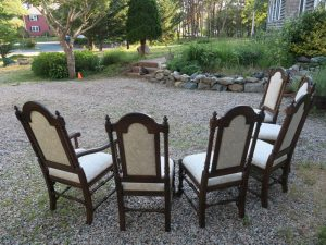 Vintage Ethan Allen Oak Dining Room Set from a Back View   Upholstered in a Greenhouse Fabric with Optional Defender Stain Protection and Latex Backing   Upholstered by Cape Cod Upholstery Shop   Located in South Dennis, MA