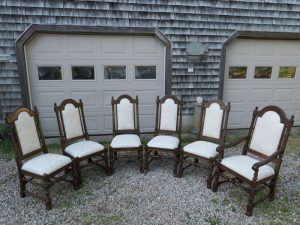 Vintage Ethan Allen Oak Dining Room Set from a Front View | Upholstered in a Greenhouse Fabric with Optional Defender Stain Protection and Latex Backing | Upholstered by Cape Cod Upholstery Shop | Located in South Dennis, MA