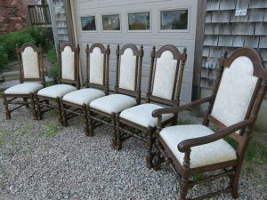 Vintage Ethan Allen Oak Dining Room Set from a Side View   Upholstered in a Greenhouse Fabric with Optional Defender Stain Protection and Latex Backing   Upholstered by Cape Cod Upholstery Shop   Located in South Dennis, MA