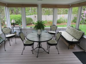 Wrought Iron Set for Three Season Porch | Vinyl and Outdoor Fabric Combination | Upholstered by Cape Cod Upholstery Shop | Located in South Dennis, MA