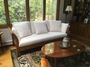 Cherry Wood Sofa Frame with Crypton Fabric Loose Cushions   Upholstered by Cape Cod Upholstery Shop   Located in South Dennis, MA