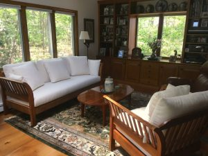 Cherry Wood Sofa & Chair Frame with Crypton Fabric Loose Cushions | Upholstered by Cape Cod Upholstery Shop | Located in South Dennis, MA