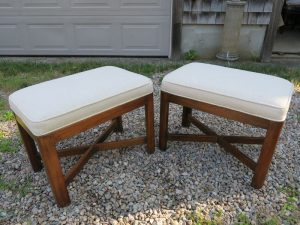 Small matching footstools with exposed wood frame | Upholstered in a JF Fabric | Upholstered by Cape Cod Upholstery Shop | Located in South Dennis, MA