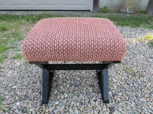 Small Foot Stool with the frame finished in black | Upholstered by Cape Cod Upholstery Shop | Located in South Dennis, MA