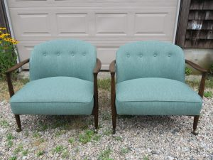 Vintage Teak Danish Chairs, Front View   Upholstered in a Polypropylene Fabric   Upholstered by Cape Cod Upholstery Shop   Located in South Dennis, MA