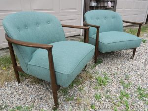 Vintage Teak Danish Chairs, Side View | Upholstered in a Polypropylene Fabric | Upholstered by Cape Cod Upholstery Shop | Located in South Dennis, MA