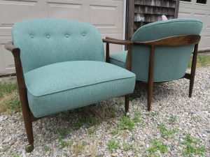 Vintage Teak Danish Chairs, Back View   Upholstered in a Polypropylene Fabric   Upholstered by Cape Cod Upholstery Shop   Located in South Dennis, MA
