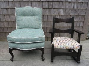 Attached Pillow Childs Chair with Contrasting Welting and Childs Rocking Chair | Upholstered in a Greenhouse Fabric | Upholstered by Cape Cod Upholstery Shop | Located in South Dennis, MA