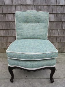Attached Pillow Childs Chair with Contrasting Welting   Upholstered in a Greenhouse Fabric   Upholstered by Cape Cod Upholstery Shop   Located in South Dennis, MA