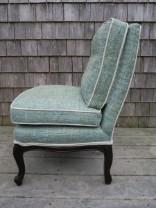 Attached Pillow Childs Chair with Contrasting Welting | Side View | Upholstered in a Greenhouse Fabric | Upholstered by Cape Cod Upholstery Shop | Located in South Dennis, MA