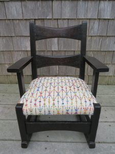 Childs Rocking Chair | Upholstered in a Greenhouse Fabric | Upholstered by Cape Cod Upholstery Shop | Located in South Dennis, MA
