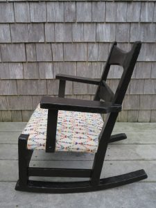 Childs Rocking Chair Side View | Upholstered in a Greenhouse Fabric | Upholstered by Cape Cod Upholstery Shop | Located in South Dennis, MA
