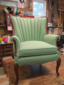 Channel Back Chair   Upholstered in a Sunbrella Fabric   Upholstered by Cape Cod Upholstery Shop   Located in South Dennis, MA