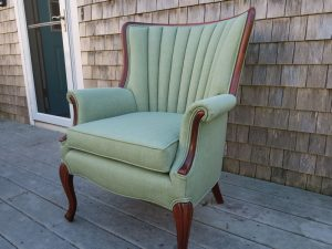 Channel Back Chair | Upholstered in a Sunbrella Fabric | Upholstered by Cape Cod Upholstery Shop | Located in South Dennis, MA