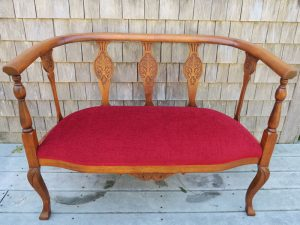 Bench Seat | Upholstered in a Vibrant Red Velvet | Upholstered by Cape Cod Upholstery Shop | Located in South Dennis, MA