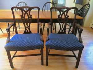 Matching Antique Side Chairs | Upholstered in a Greenhouse Fabric | Upholstered by Cape Cod Upholstery Shop | Located in South Dennis, MA