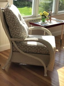 Wicker chair cushions   Upholstered in a Sunbrella Fabric   Upholstered by Cape Cod Upholstery Shop   Located in South Dennis, MA