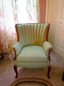 Bedroom Channel Back Chair | Upholstered in a Sunbrella fabric | Upholstered by Cape Cod Upholstery Shop | Located in South Dennis, MA