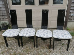 Four of fourteen Custom Dining Chairs   Upholstered in an exclusive United Fabrics Sunbrella fabric   Upholstered by Cape Cod Upholstery Shop   Located in South Dennis, MA