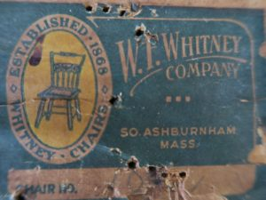 W.F. Whitney Company furniture label | Established in 1868 in Ashburnham, MA | Cape Cod Upholstery Shop | Located in South Dennis, MA