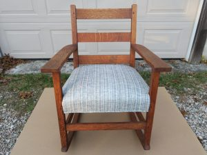 Upholstered Oak Rocking Chair | Upholstered in a Kravet Fabrics Stripe | Upholstered by Cape Cod Upholstery Shop | Located in South Dennis, MA