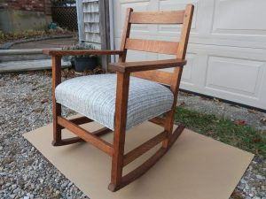 Upholstered Oak Rocking Chair Side View | Upholstered in a Kravet Fabrics Stripe | Upholstered by Cape Cod Upholstery Shop | Located in South Dennis, MA