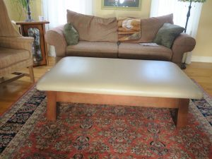 """Large 54"""" Ottoman   All new high density foam   Upholstered in a Greenhouse Fabrics faux leather   Upholstered by Cape Cod Upholstery Shop   Located in South Dennis, MA"""