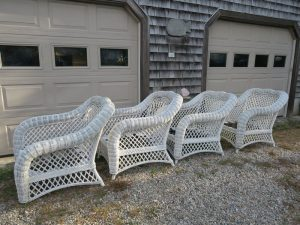 Wicker Chairs with new polypropylene webbing | Cape Cod Upholstery Shop | Located in South Dennis, MA
