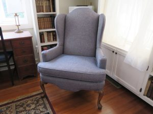 Two of two wing chairs in the library room | Upholstered in a Greenhouse Fabrics | Upholstered by Cape Cod Upholstery Shop | Located in South Dennis, MA