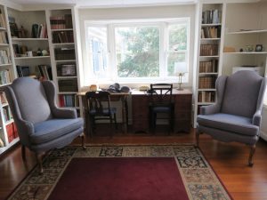 Matching Wing Chairs | Upholstered in a Greenhouse Fabrics | Upholstered by Cape Cod Upholstery Shop | Located in South Dennis, MA