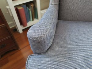 Wing chair arm cover | Upholstered in a Greenhouse Fabrics | Upholstered by Cape Cod Upholstery Shop | Located in South Dennis, MA