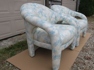 Open Arm Style Chairs Upholstered in an Anna Elizabeth Fabric | Upholstered by Cape Cod Upholstery Shop | Located in South Dennis, MA