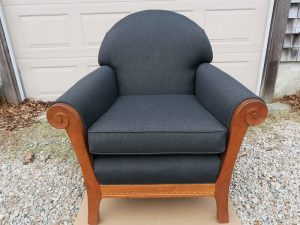 Shackleton Thomas Sleigh Chair | Upholstered in a black Sunbrella Fabric | Upholstered by Cape Cod Upholstery Shop | Located in South Dennis, MA