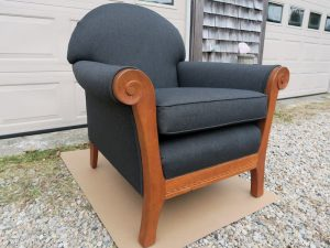 Shackleton Thomas Sleigh Chair Side View | Upholstered in a black Sunbrella Fabric | Upholstered by Cape Cod Upholstery Shop | Located in South Dennis, MA