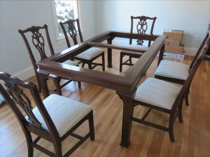 Set of 6 Mahogany Dining Chairs | Upholstered in a Kravet Fabrics Crypton stripe | Upholstered by Cape Cod Upholstery Shop | Located in South Dennis, MA