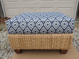 Wicker Ottoman with Attached Seat Cushion | Upholstered in a Greenhouse Fabrics | Upholstered by Cape Cod Upholstery Shop | Located in South Dennis, MA