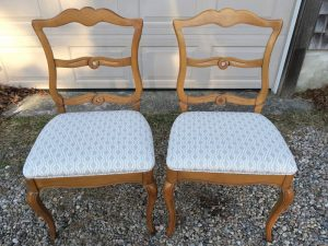 Antique Side Chairs originally sold by the John H. Pray Company from Medford, MA Circa 1960 | Upholstered in a Kravet Fabric | Upholstered by Cape Cod Upholstery Shop | Located in South Dennis, MA