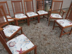 Set of 8 Italian Made Dining Chairs | Upholstered in a sea shell indoor outdoor fabric | Upholstered by Cape Cod Upholstery Shop | Located in South Dennis, MA