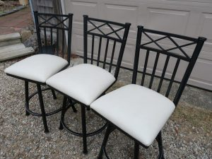 Three Bar Stools, Side View | Upholstered in a Greenhouse Fabrics Faux Vinyl | Upholstered by Cape Cod Upholstery Shop | Located in South Dennis, MA