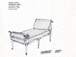 Sketch of Champagne Bed on Rice Paper | Acclaimed Set Designers Helen Pond and Herbert Senn | Upholstered by Cape Cod Upholstery Shop | Located in South Dennis, MA