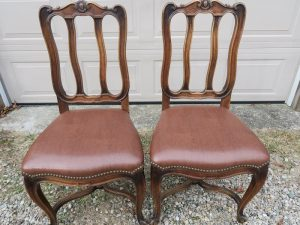 Two of Six Antique Dining Chairs | Upholstered in a Greenhouse Fabrics Faux Leather | Trimmed with Natural Finish Decorative Steel Nails | Upholstered by Cape Cod Upholstery Shop | Located in South Dennis, MA