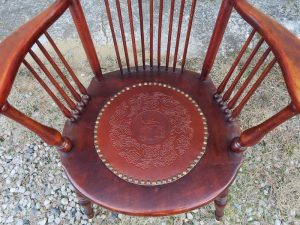Antique Chair Leather Seat Insert with Pre-Finished Light Brown Dove Pattern | Leather seat attached with decorative brass nails | Leather Seat Purchased at Van Dykes Restorers | Upholstered by Cape Cod Upholstery Shop | Located in South Dennis, MA