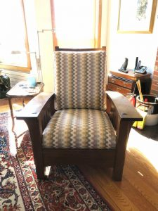 Stickley Chair | Upholstered in a United Fabrics Sunbrella exclusive | Upholstered by Cape Cod Upholstery Shop | Located in South Dennis, MA