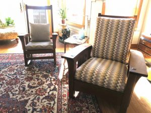 Stickley Chair & Rocking Chair | Chair upholstered in a United Fabrics Sunbrella exclusive | Rocking Chair upholstered in a JF Fabrics high performance fabric | Upholstered by Cape Cod Upholstery Shop | Located in South Dennis, MA